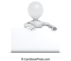 3D Morph Man with blank sign - 3D Render of Morph Man with...