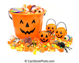 Trick or Treat - Halloween Jack o Lantern pails with pile of...
