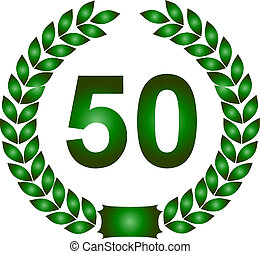green laurel wreath 50 years - illustration of a green...