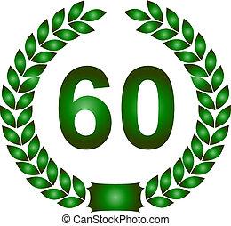 green laurel wreath 60 years - illustration of a green...