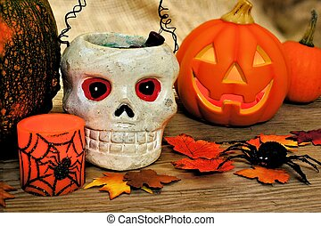 Halloween decor - Halloween and autumn decor with skull and...