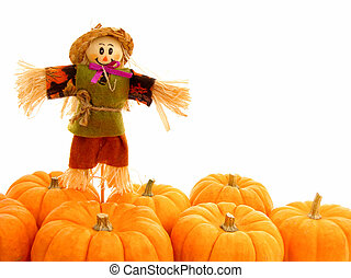 Autumn border of pumpkins over white with scarecrow
