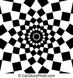 Black and White Abstract Psychedelic Art Background. Vector...