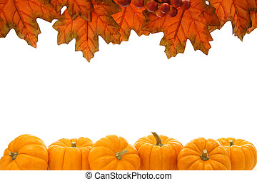 Autumn frame - Double edge border of autumn leaves and...
