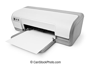 inkjet printer - ink-jet printer with paper isolated on...