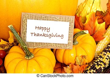 Happy Thanksgiving tag with pumpkins and autumn decor
