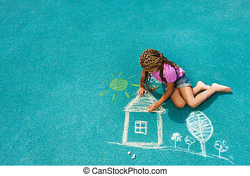 Little black girl drawing chalk house image - Nice looking...