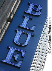 Blue neon sign - Blue neon vertical sign, bold serif blue...