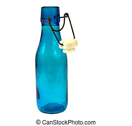 OLD BLUE BOTTLE WITH LID - antique blue glass bottle with...