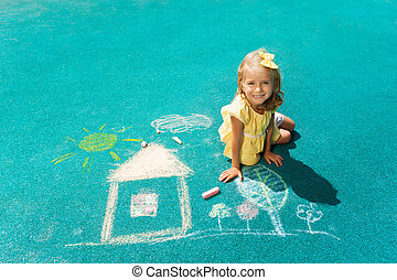 Drawing house with chalk - View from above of beautiful...