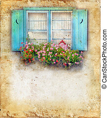 Windowbox and Shutters on Grunge Background - Windowbox...