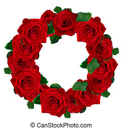 red roses wreath isolated on white background