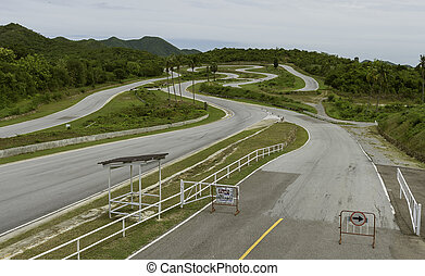 Empty racing track for motor bike in the mountain
