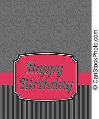 Elegant Striped Happy Birthday Note