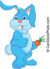cute rabbit cartoon thumbs up illustration