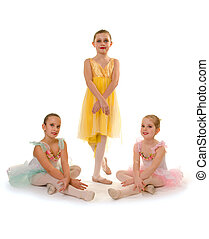 Ballet Dance Students Girls - Three Student Girls Pose in...