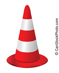 Red and white traffic cone on white