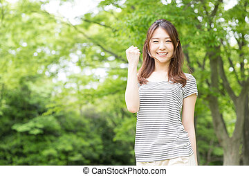 woman who smile - Beautiful young asian woman who smile