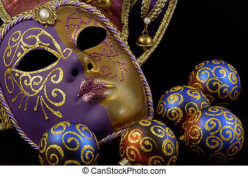 Mask and baubles - Beautiful Venetian mask on black...