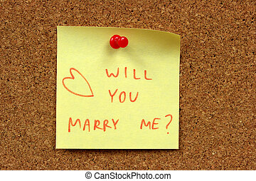 Marriage - Yellow small sticky note on an office cork...