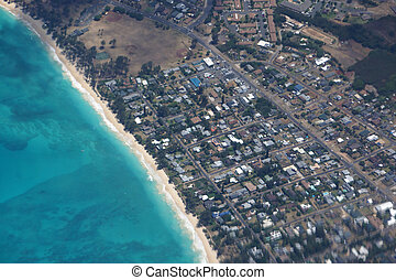 Aerial view of Waimanalo Beach, Homes, bay. Highway, Park and  P