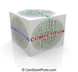 3d cube word tags wordcloud of competition