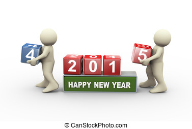 3d people and happy new year 2015 - 3d rendering of person...