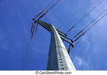 alto, Voltagem, poder, linhas, cruzar, grande, metal,...