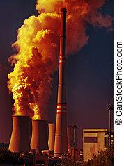Carvão, poder, planta, poluição
