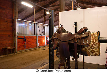 Saddle Center Path Horse Equestrian Stable - A saddle waits...