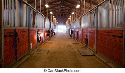Center Path Through Horse Paddock Equestrian Ranch Stable -...