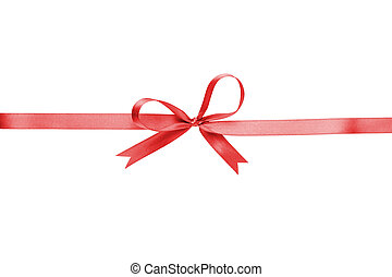 red thin ribbon with bow