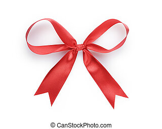 red thin ribbon bow, isolated on white