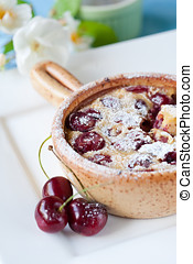 Delicious dessert - Delicious cherry clafoutis dessert with...