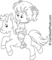 Little rider - Girl riding a small pony, black and white...
