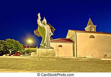 Grgur Ninski statue in town of Nin, Dalmatia, Croatia