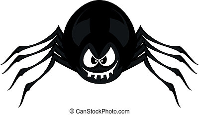Funny freaky spider - A black cartoon spider smiles and...