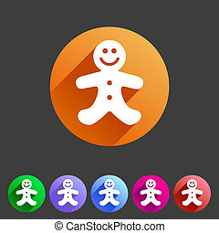 Gingerbread man christmas flat icon - Christmas gingerbread...