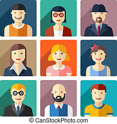 Flat round avatar icons, faces, people icons - Vector flat...