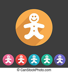 Gingerbread man christmas flat icon