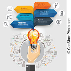 Business ideas concept. Hand holding light bulb and bubble...