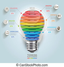 Business thinking timeline. Lightbulb with icons. Can be...