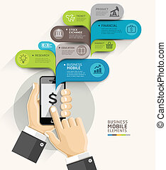 Mobile business bubble speech template style Vector...