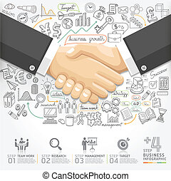 Business handshake Infographics. - Business handshake...