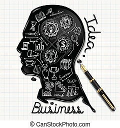 Ink shaped people head on paper. - Business doodles icons...
