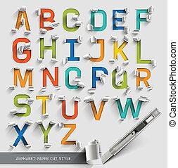 Alphabet paper cut colourful font.