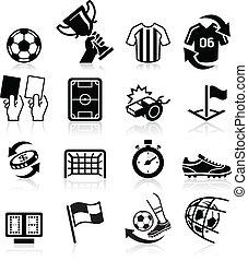futebol, ícones, vetorial, Ilustração