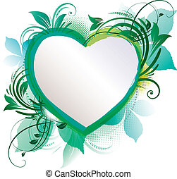 Abstract floral heart - Abstract green floral heart...