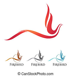 Firebird icons - Vector firebird icons with color options