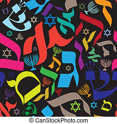 Hebrew Seamless Pattern - Seamless pattern design with...